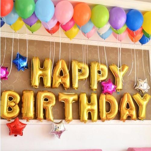 16 Happy Birthday Foil 40 Helium Combo